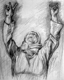 """Kampf um Kobane"" (2014), Bleistift auf Papier"